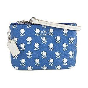 Coach Badlands Blue Floral Ivory Wristlet